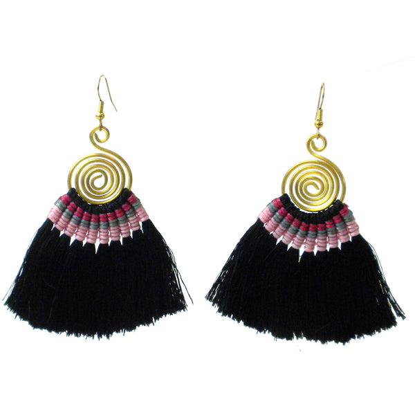 Tribal Spiral Tassel Earrings - Black - Global Groove (J)
