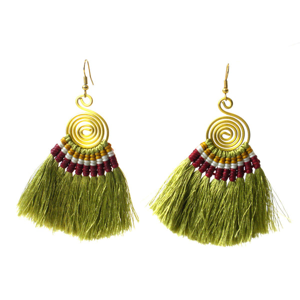 Tribal Spiral Tassel Earrings - Olive - Global Groove (J)