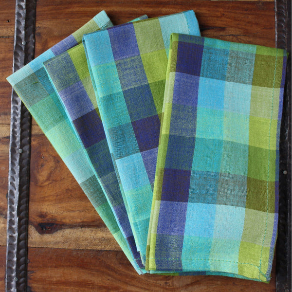 Blue Madras 16 inch Cotton Napkin Set of 4 - Sustainable Threads (L)