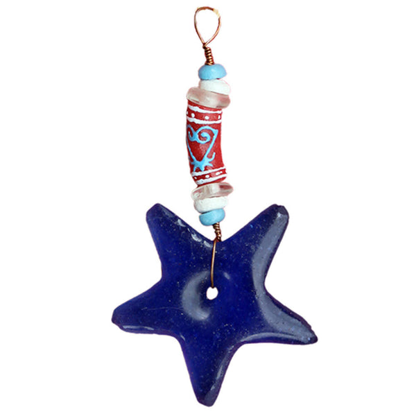 Adinkra Sankofa Star Ornament Blue - Global Mamas (H)