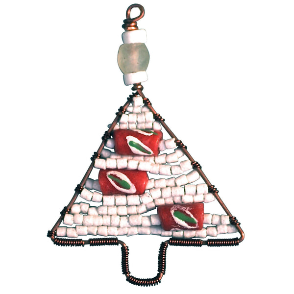 Beaded Tree Ornament White - Global Mamas (H)
