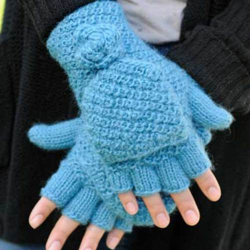 Mollie Fingerless Gloves - Azure - WorldFinds (W)
