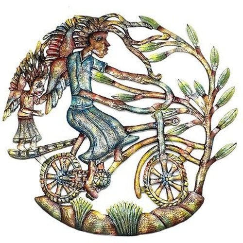 Angels on Bicycle Hand Painted 24-inch Metal Wall Art - Croix des Bouquets