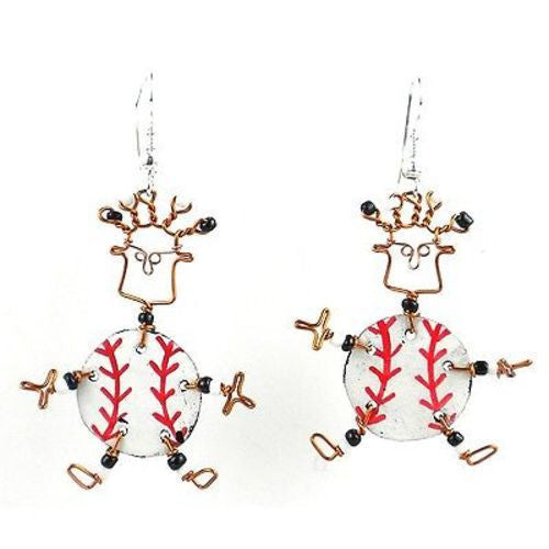 Dancing Girl Baseball Fanatic Earrings - Creative Alternatives