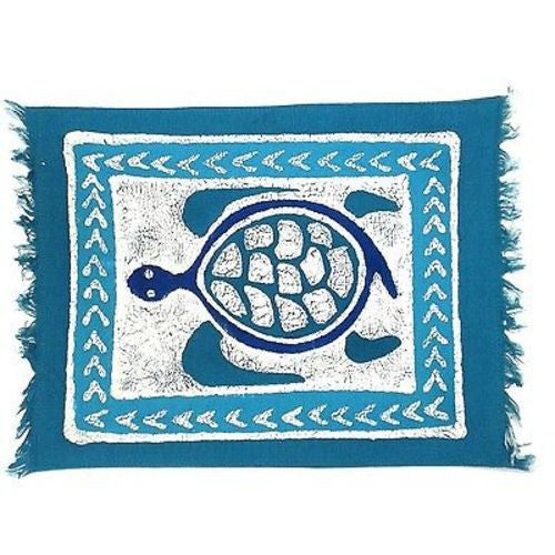 Handpainted Blue Turtle Batiked Placemat - Tonga Textiles