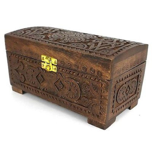 Handcrafted Carved Mango Wood Chest with Latch - Noahs Ark (B)
