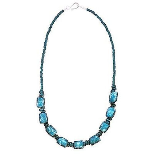 Recycled Glass Marble Necklace in Teal - Global Mamas