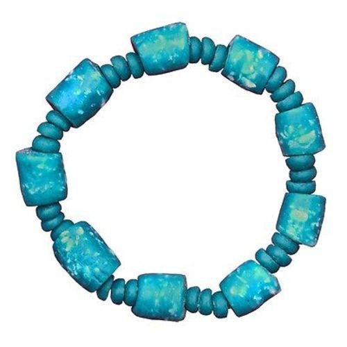 Recycled Glass Marble Bracelet in Teal - Global Mamas