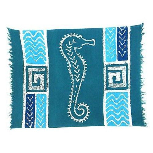 Handpainted Blue Seahorse Batiked Placemat - Tonga Textiles