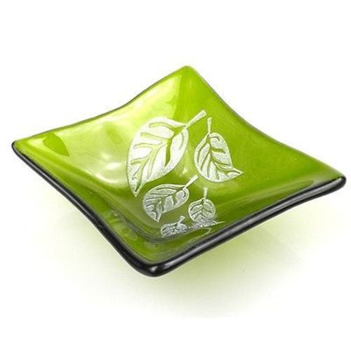 Etched Leaf Small Recycled Green Glass Dish - Tili Glass (G)