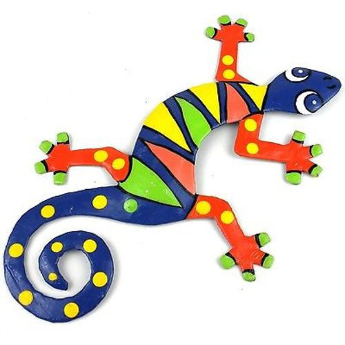 Eight Inch Blue ZigZag Metal Gecko - Caribbean Craft