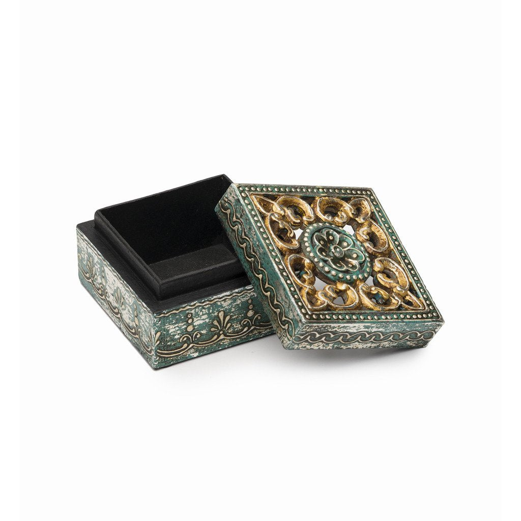 Antiqued Metal and Wood Cut Out Box - Matr Boomie (B)