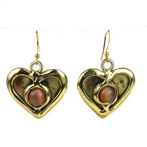 Peach Tiger Eye Heart Earrings - Brass Images (E)