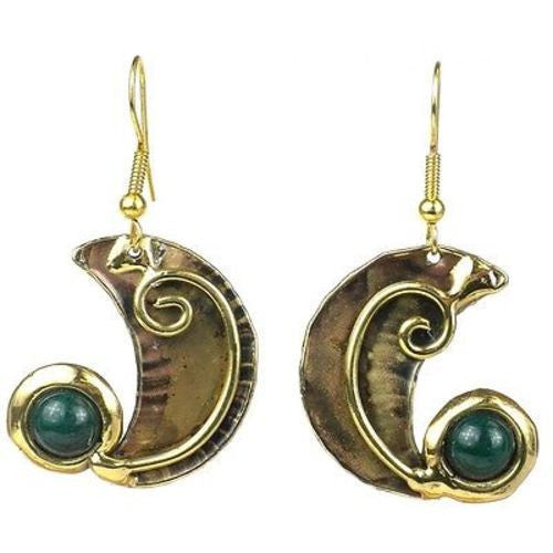 Crescent and Green Stone Earrings - Brass Images (E)