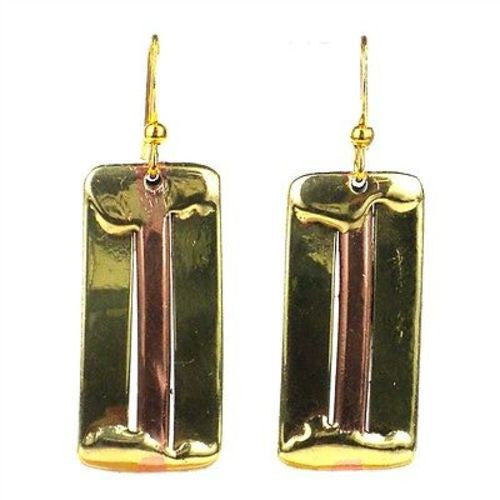 Brass and Copper Architecture Earrings - Brass Images (E)