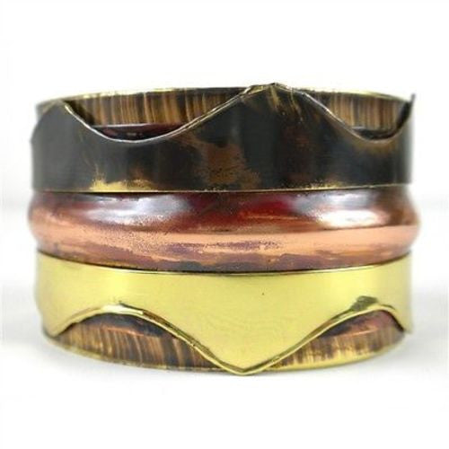 Triple Copper and Brass Cuff - Brass Images (C)