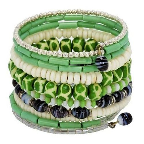 Ten Turn Bead and Bone Bracelet orest Greens - CFM