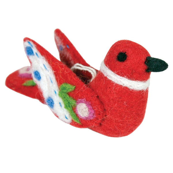 Alpine Love Bird Felt Ornament - Red - Wild Woolies (H)