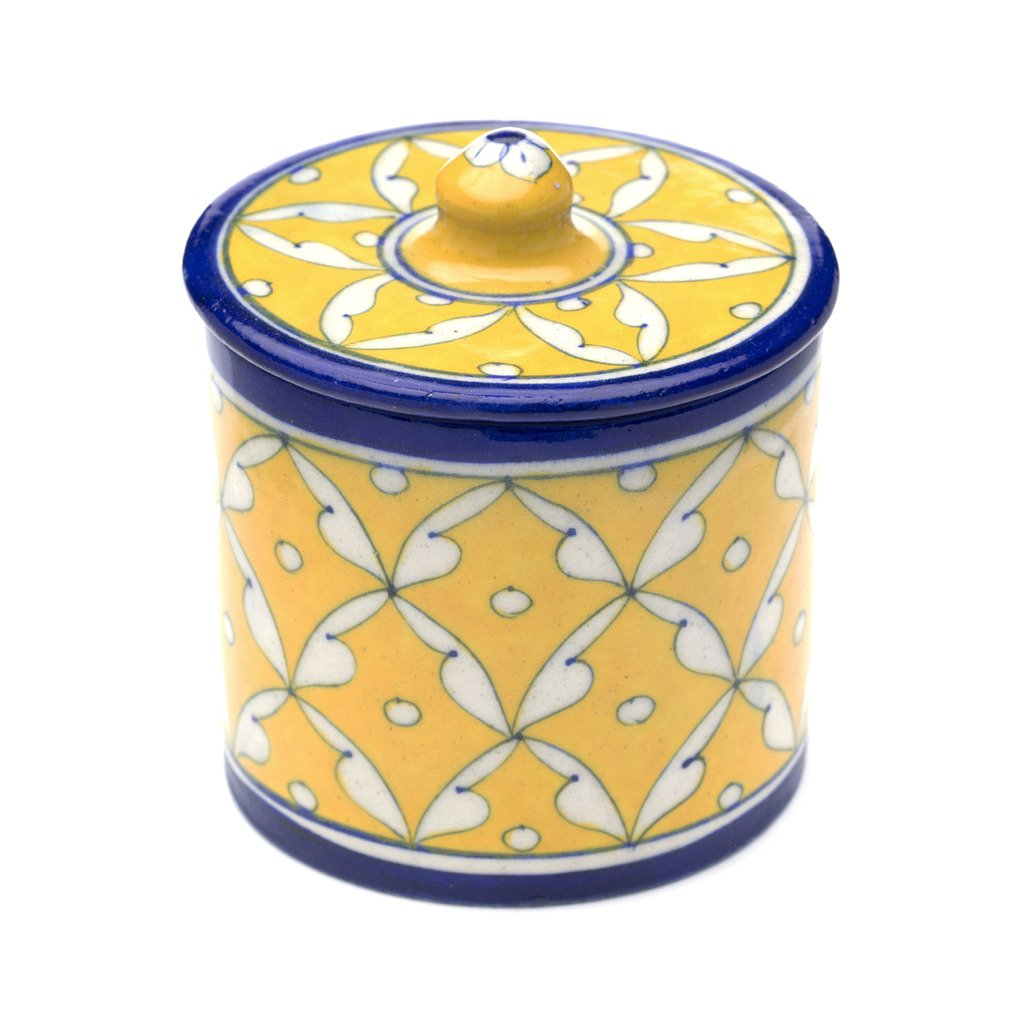 Blue Pottery Canister - Blue & Yellow - Matr Boomie (Pottery)