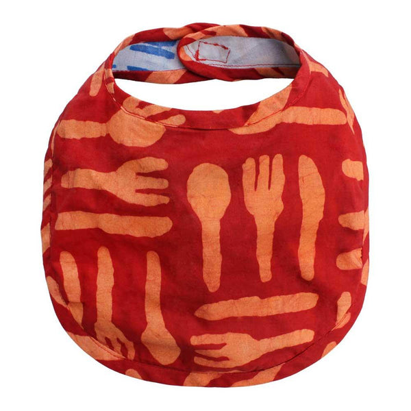 Babies Bib Silverware Orange One Size - Global Mamas (B)