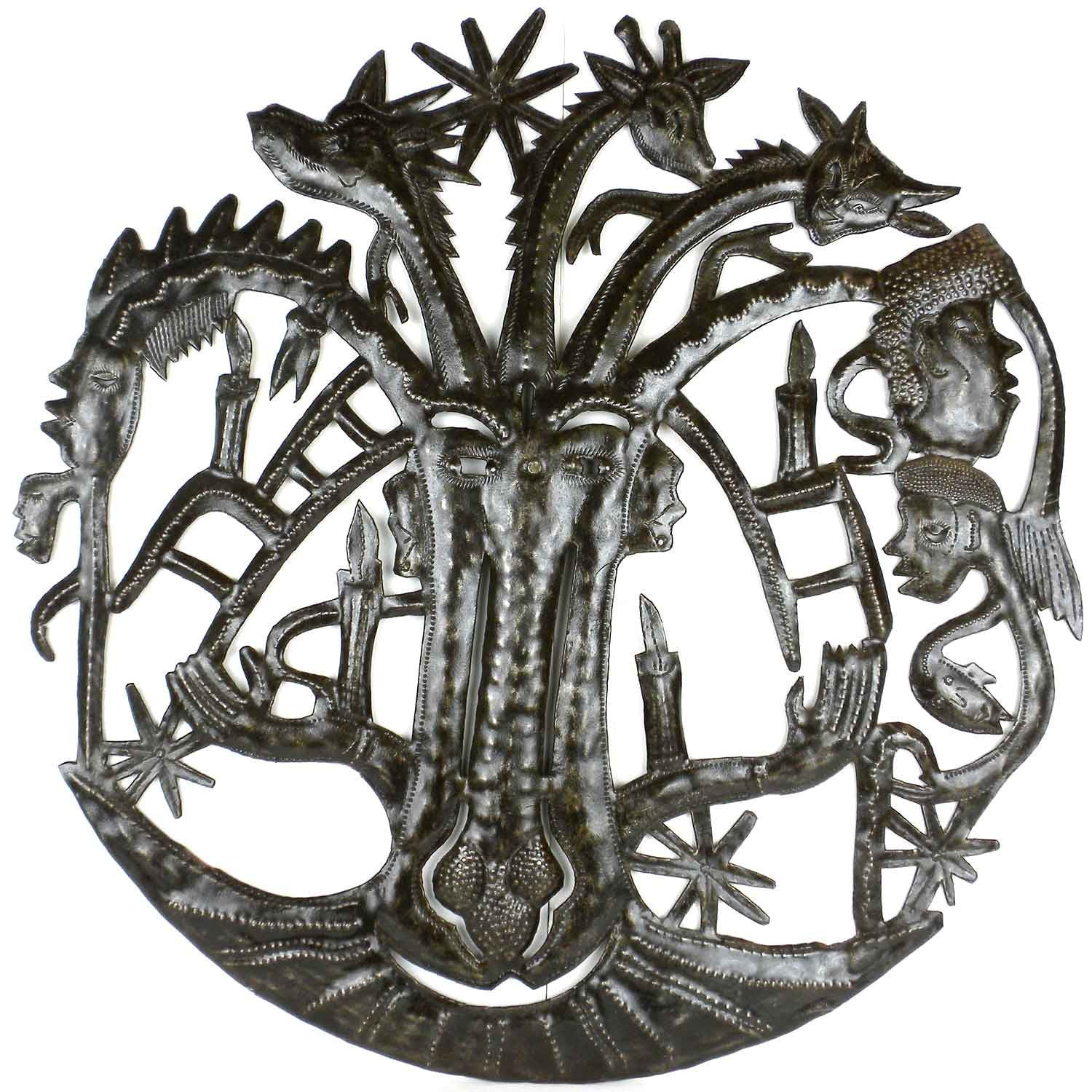 Haitian Metal Wall Art ce with Many Heads - 004 - Croix des Bouquets