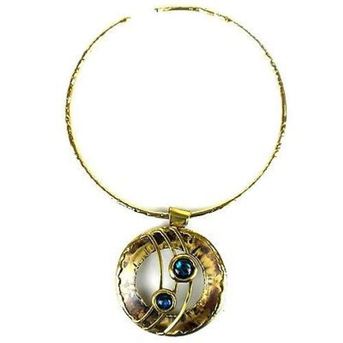 Ripple Effect Paua Shell and Brass Pendant Necklace - Brass Images (N)