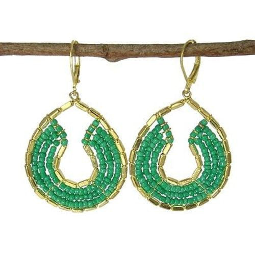 Byzantine Earrings in Teal and Gold - WorldFinds