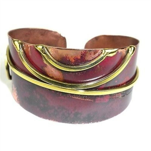 Red Copper and Brass Scroll Oval Cuff - Brass Images (C)
