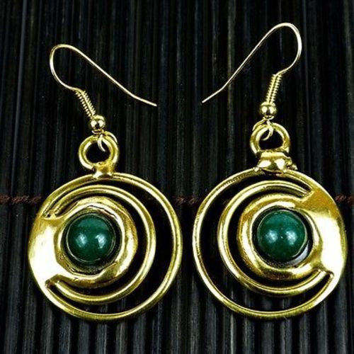 Deep Green Stone Concentric Earrings - Brass Images (E)
