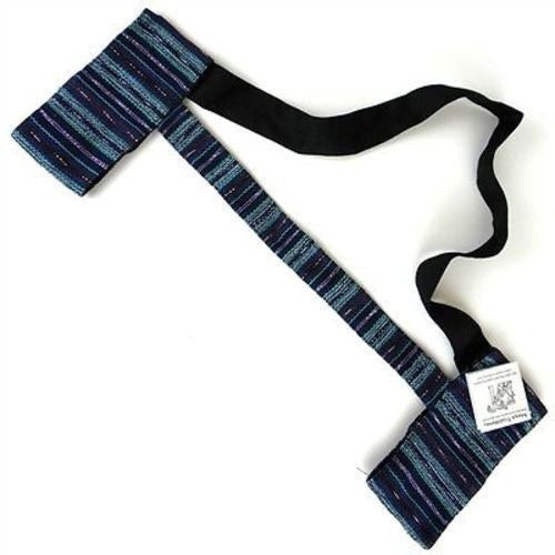 Hand Woven Sololá Yoga Mat Sling in Blue-Purple - Maya Traditions (A)