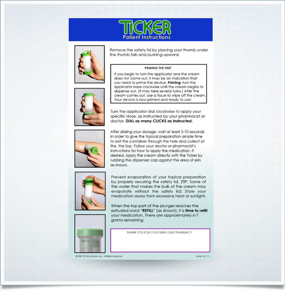 Ticker™ Patient Instruction Inserts - (100 Count)