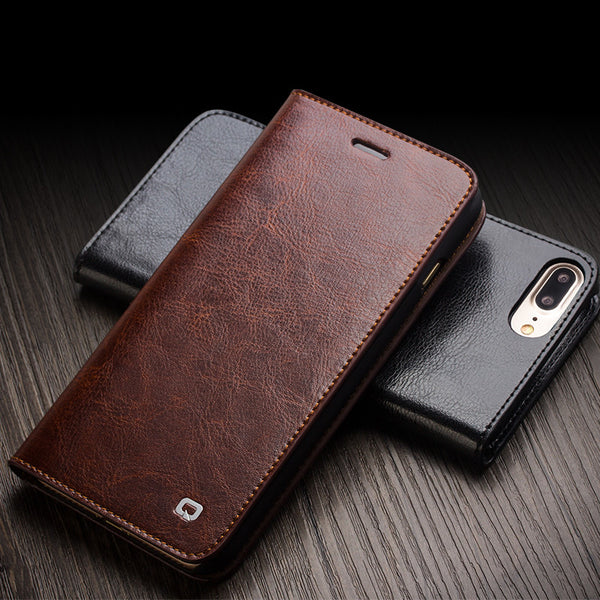 QIALINO Case for iPhone 7 Handmade Genuine Leather Wallet Case for iph 826948016