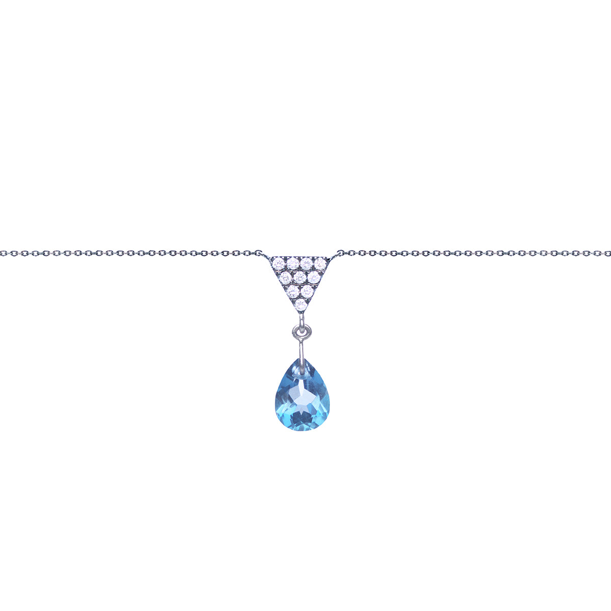 Triangle And London Blue Topaz Charm Necklace Main Image