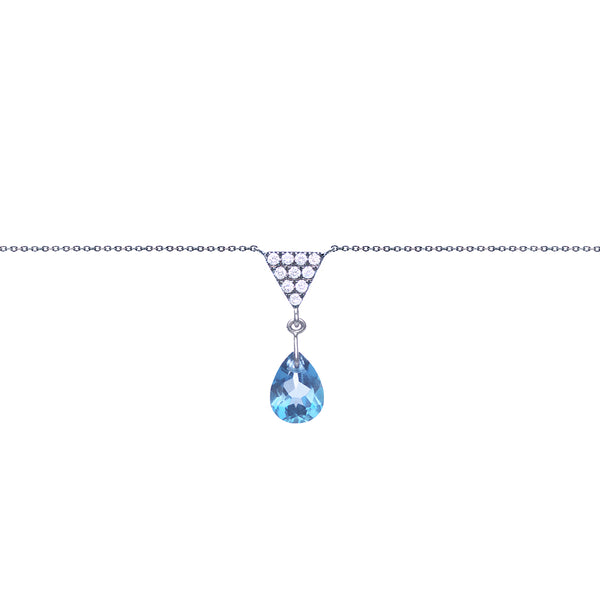 Triangle And London Blue Topaz Charm Necklace
