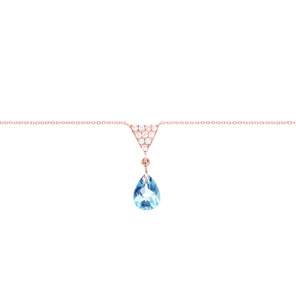 Triangle And Sky Blue Topaz Charm Necklace