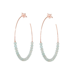 Explosion Aquamarine Hoop Earrings
