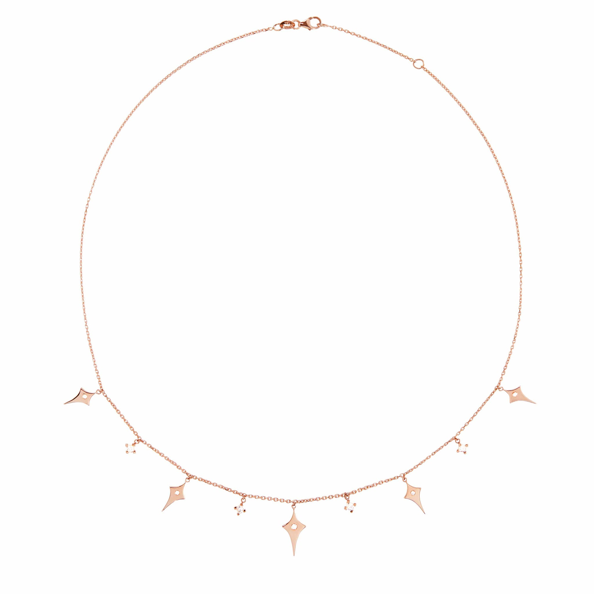 Diane Kordas 18k Rose Gold Multi-Shield and Diamond Charm Necklace