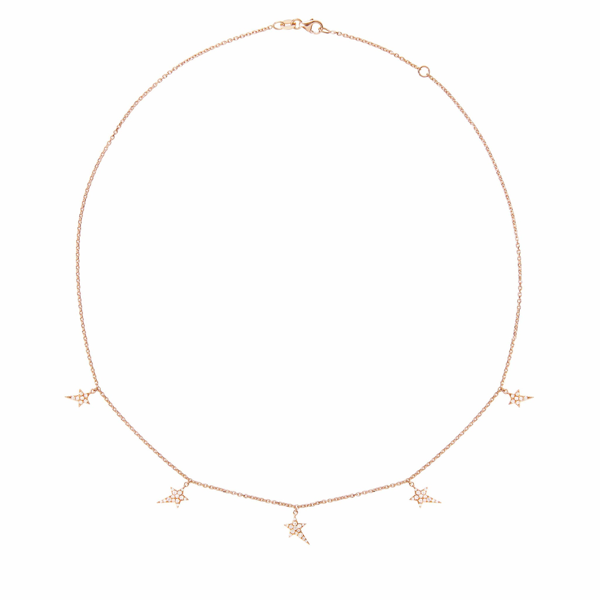 Diane Kordas 18k Rose Gold Multi-Star Charm Necklace