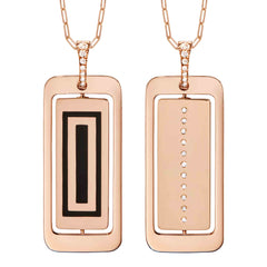 DIANE KORDAS ENAMEL AND DIAMOND ID PENDANT