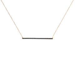 Diane Kordas Jewellery Black Diamond Bar Necklace 18kt gold
