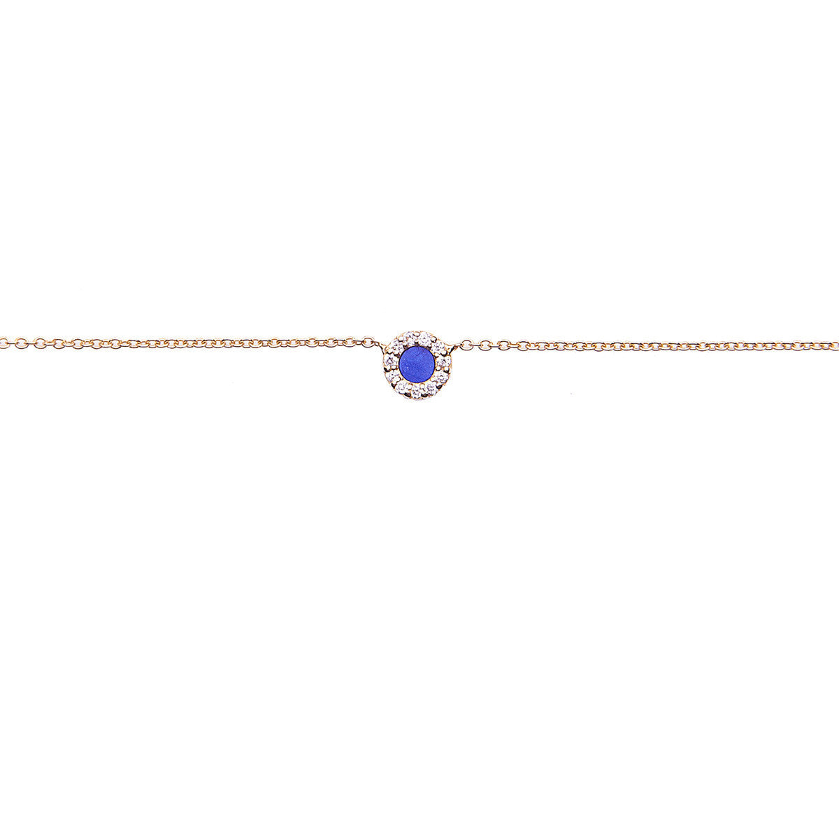 Diane Kordas Jewellery Lapis Round Evil Eye Necklace 18kt gold