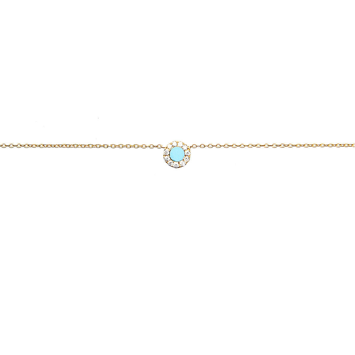 Diane Kordas Jewellery Turquoise Round Evil Eye Necklace 18kt gold