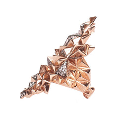 Diane Kordas Jewellery Rose Gold Eclipse Ring side view 18kt gold