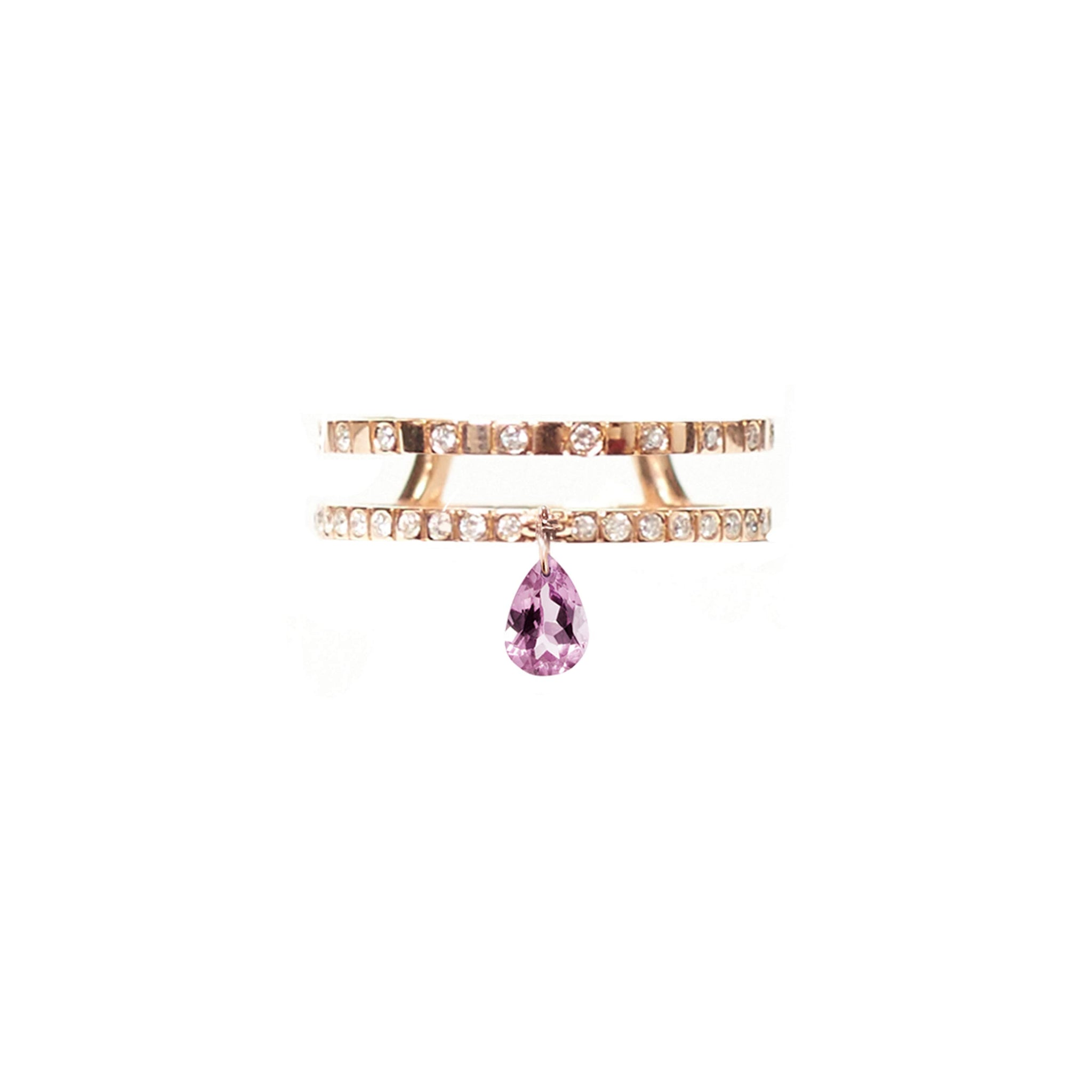 Pink Tourmaline Double Band Ring