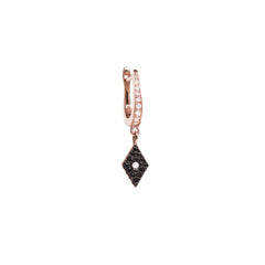 Diane Kordas Jewellery Cosmos Black Diamond Charm Earring side view 18kt gold