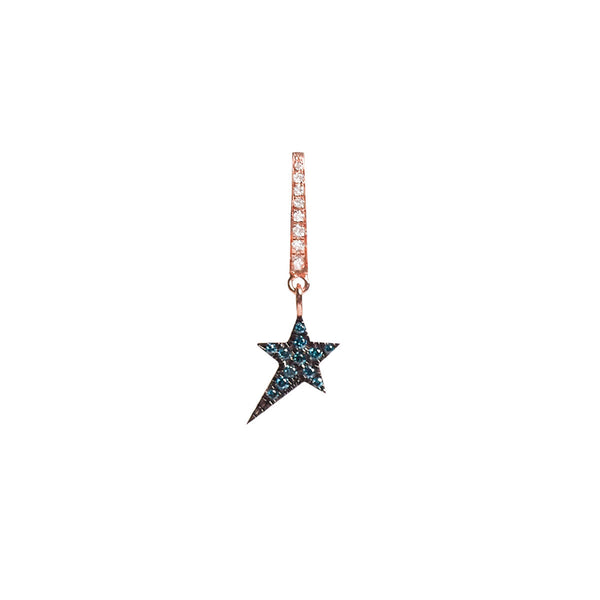 Cosmos Blue Diamond Star Charm Earring