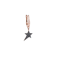 Diane Kordas Jewellery Cosmos Blue Star Charm Earring side view 18kt gold