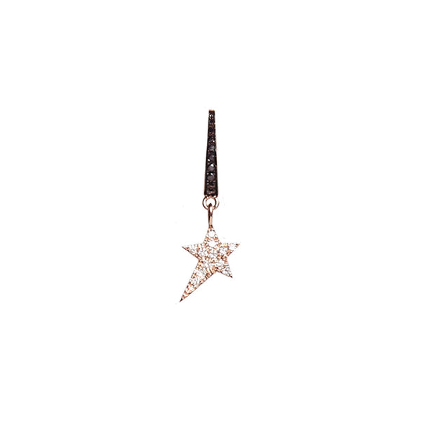 Cosmos Black Diamond Star Charm Earring