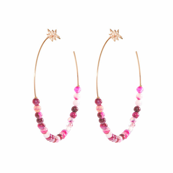 Explosion Pink Agate Hoop Earrings