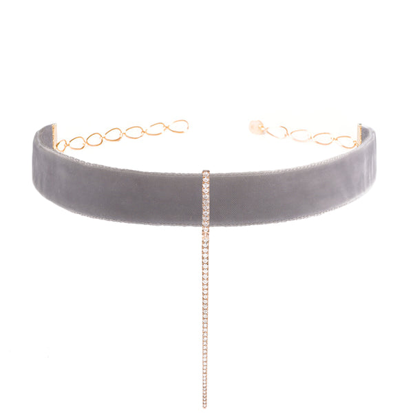 Grey Velvet Bar Choker